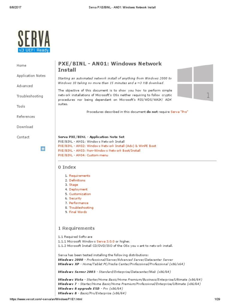 Serva PXE Windows Network Install | X86 Architecture | Bios