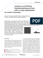 Control of Nanotexture and Wetting Properties of PDMS by Plasma Processing
