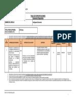 Tabla Especificaciones Evaluación Diganóstica