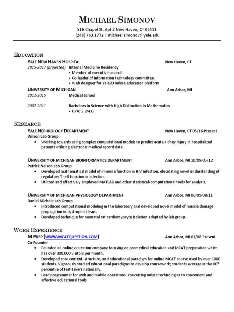 Michael Simonov CV docx | University Of Michigan | Educational