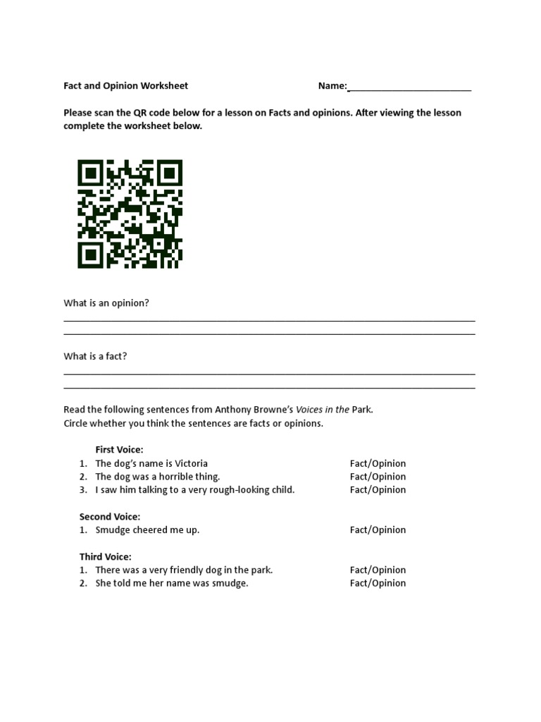 Fact And Opinion Worksheet For Website