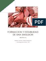 Practica de Carnes Formacion y Estabilidad de Una Emulsion