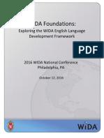 WIDA-Foundations Exploring the WIDA English Language Development Framework ParticipantPacket