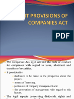 Relevant Provisions of Companies Act
