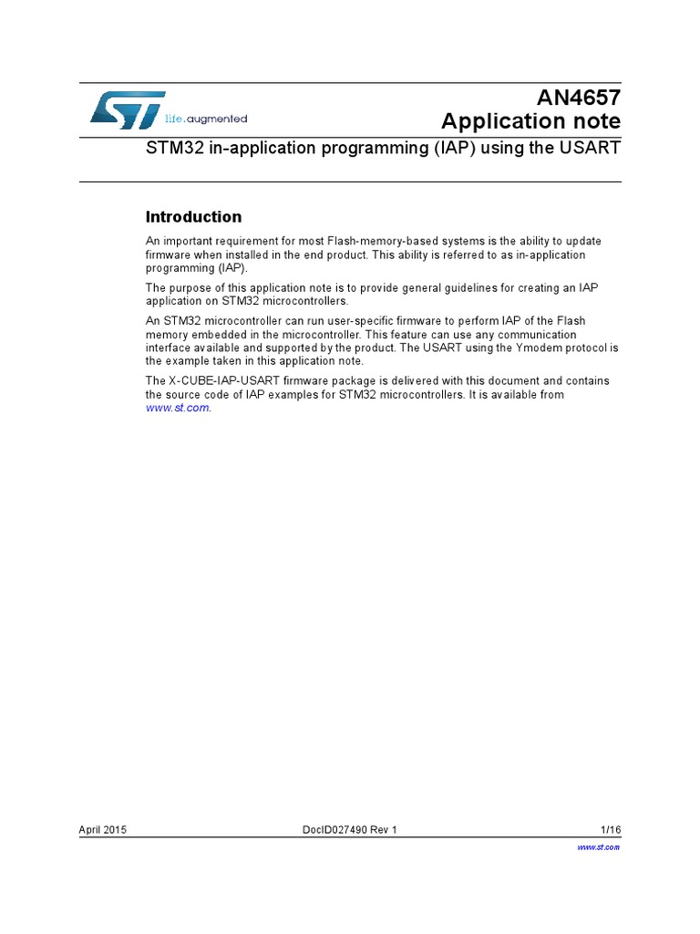 STM32 in-application programming (IAP) using the USART pdf