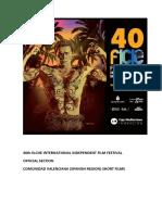"40th Elche International Independent Film Festival. Official Section. ""Comunidad Valenciana"" (Spanish Region)"