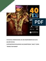 40 Festival Internacional de Cine Independiente de Elche. Sección Oficial. Mobile.