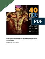40 Festival Internacional de Cine Independiente de Elche. Sección Oficial. Amateur