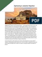 Information on Sightseeing in Jaisalmer Rajasthan