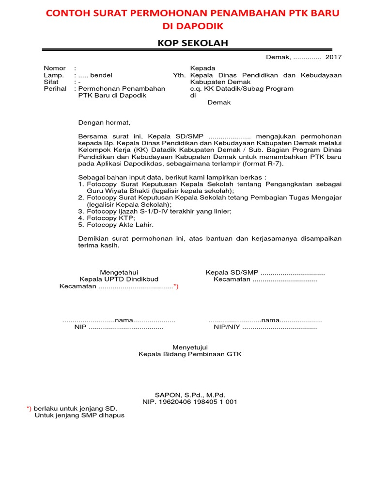 Contoh Surat Permohonan Ke Kepala Dinas Pendidikan ...
