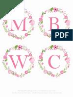 Printable Wedding Floral Banner Pink