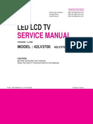 Lg 42lv3700-Sa Chassis Lj12b | Soldering | Printed Circuit Board