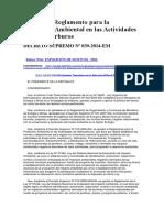 Reglamento Para La Protección Ambiental en Las Actividades de Hidrocarburos, D.S. Nº 039-2014-EM- Spij- 29-06-17
