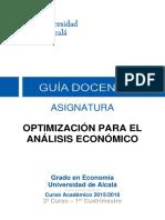 ASIGNATURA OPTIMIZACIÓN PARA EL ANÁLISIS ECONÓMICO-Universidad de Alcalá