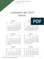 Calendario de Bolivia Del 2015 _ ¿Cuándo en El Mundo