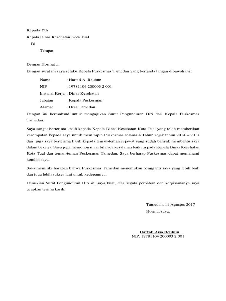 10++ Contoh surat pengunduran diri honorer puskesmas terbaru terbaru