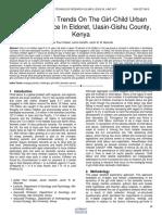 The Emerging Trends on the Girl Child Urban Domestic Service in Eldoret Uasin Gishu County Kenya