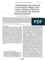 The Process of Disclosing a Gays Personal Status to His Surrounding in Medan North Sumatera Province Indonesia a Study on Interpersonal Communication by Using Self Disclosure Approach
