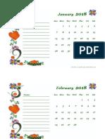 2018 Blank Calendar Design Template 06