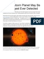 Rare Newborn Planet May Be the Youngest Ever Detected