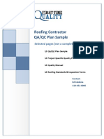 Roofing Quality Control Plan Sample