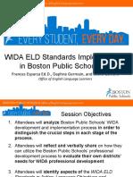 WIDA ELD Standards Framework Implementation in Boston Public Schools 2012-2015