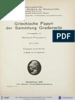 Plaumann, Griechische Papyri Der Sammlung Gradenwitz (1914)