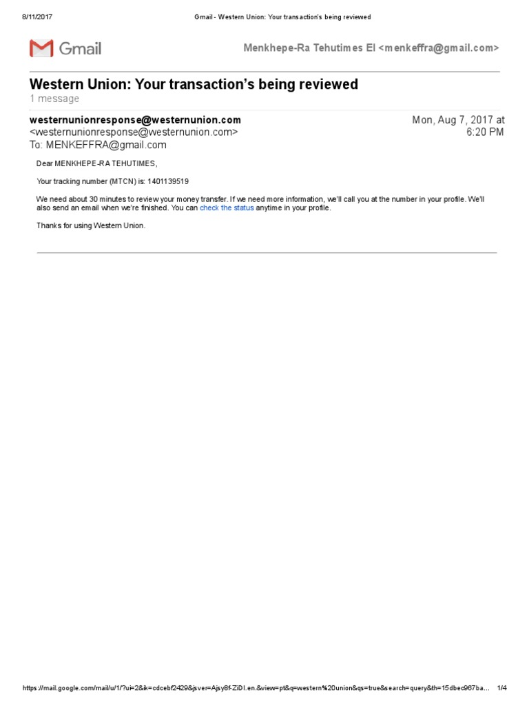 Gmail - Western Union_ Your transaction's being reviewed pdf