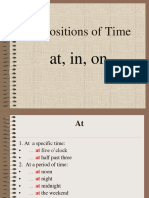 p3 Prepositions of Time at in On