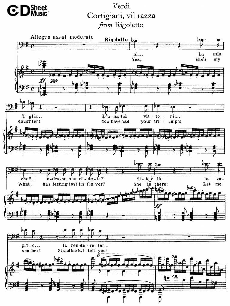 Cortigiani Vil Razza Dannata Verdi Rigoletto
