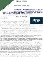 Paragas v. Heirs of Dominador Balacano 468 SCRA 717