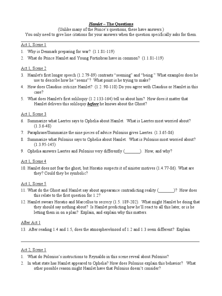 Hamlet Study Questions 2013 Hamlet Tragedy Plays [ 1024 x 768 Pixel ]