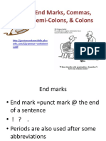 End Marks Commas Semi Colons Colons
