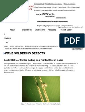 Wave Soldering Defects: Solder Balls or Solder Balling on a