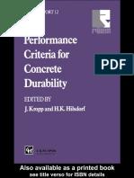 Hilsdorf, Hubert K.; Kropp, Jörg Performance Criteria for Concrete Durability State-Of-The-Art Report