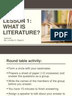 LESSON 1 LITERATURE