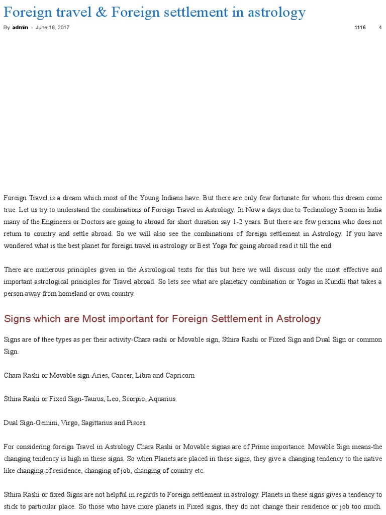 Foreign Travel & Foreign Settlement in Astrology | Astrological Sign