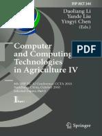 (IFIP Advances in Information and Communication Technology 344) Yanjun Zuo, Xu Ma, Long Qi, Xinglong Liao (Auth.), Daoliang Li, Yande Liu, Yingyi Chen (Eds.)-Computer and Computing Technologies in Agr