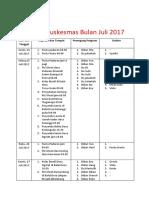 Jadwal PKM Bulan Juli Agustus 2017