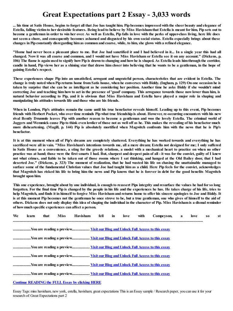 Thesis Statement For Education Essay Great Expectations Part  Essay  Words  Great Expectations  Estella  Great Expectations Essays About Business also Research Essay Papers Great Expectations Part  Essay  Words  Great Expectations  Thesis Statements Examples For Argumentative Essays