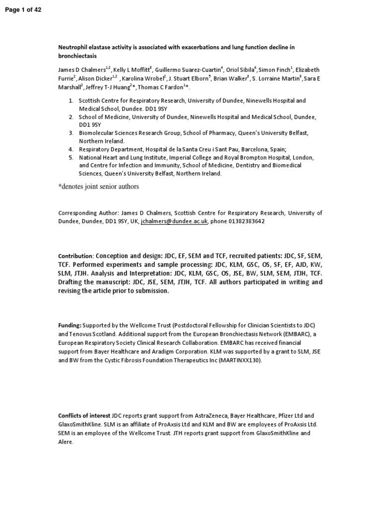 Neutrofil Elastase Activity on Be | Biomarker | Clinical Trial