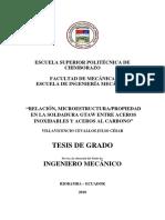 RELACIÓN, MICROESTRUCTURA/PROPIEDAD EN LA SOLDADURA GTAW ENTRE ACEROS INOXIDABLES Y ACEROS AL CARBONO