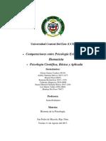 Comparaciones Entre la Psicología Existencial y Humanista, Psicología Aplicada, Básica y Científica.