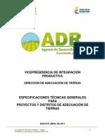 Especificaciones Técnicas Proyectos y Distritos de Adecuación de Tierras ADR  Abril 2017
