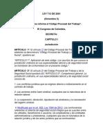 LEY 712 DE 2001 Reforma el Cod Procesal de Trabajo.pdf