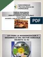 Presentación Derecho Agrario Tercer Parcial Ley de Modernización Sector Agrícola