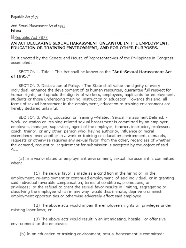 Philippines anti sexual harassment law
