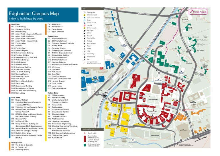 Edgbaston Campus Map Edgbaston Campus Map