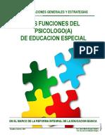 Taller Las Funciones Del Psicologo de Educacion Especial en Mexico (Versión Cognitiva 2015)