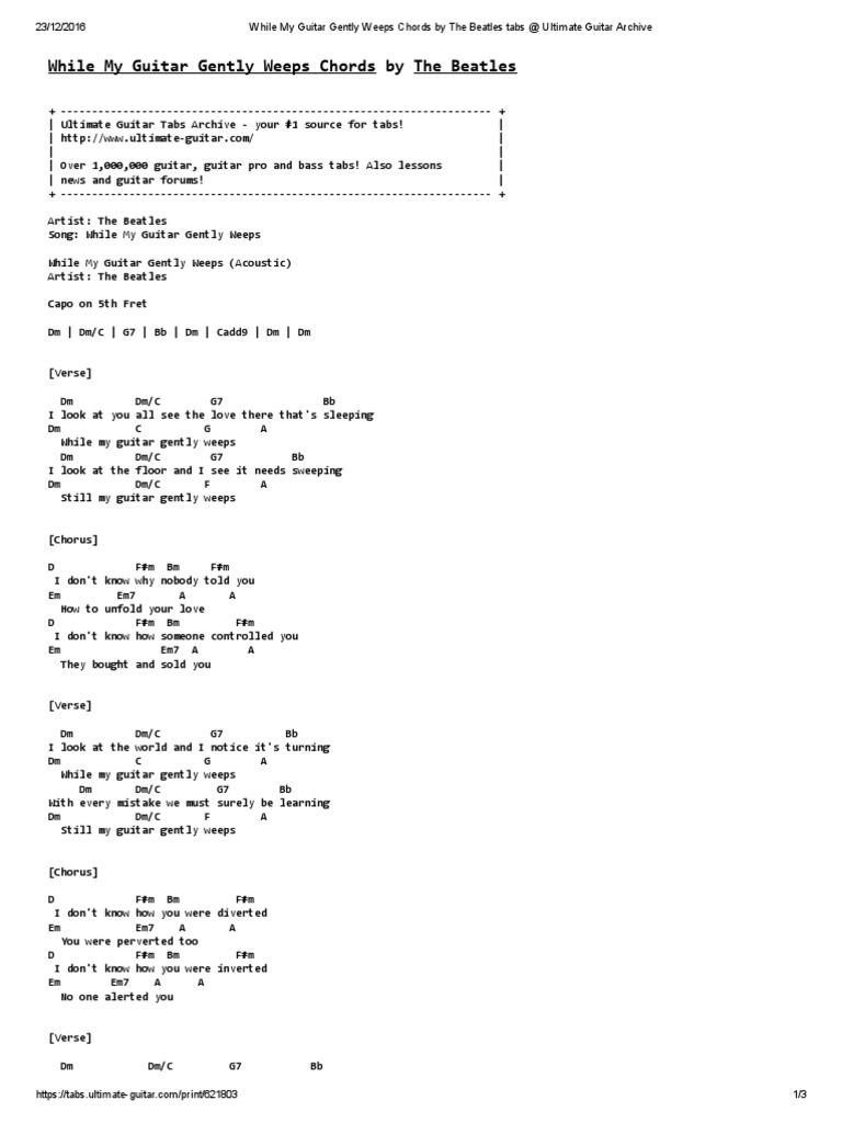 While My Guitar Gently Weeps Chords By The Beatles Tabs Ultimate